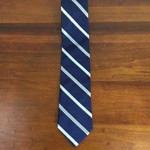 Tommy Hilfiger Blue Silver Striped Silk Neck Tie